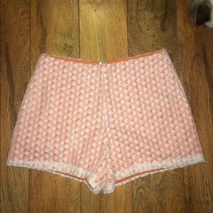 NWT Ark & Co orange shorts w/h cream lace overlay